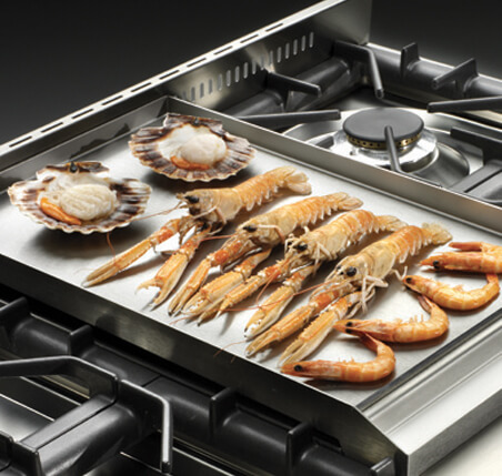 seafood on cooktop